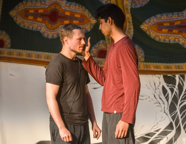 "John Sataloff (left) and Shyam Akula performed a dramatic reading of James Baldwin's ""Giovanni's Room."""