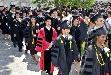 Students walking in Class Day procession