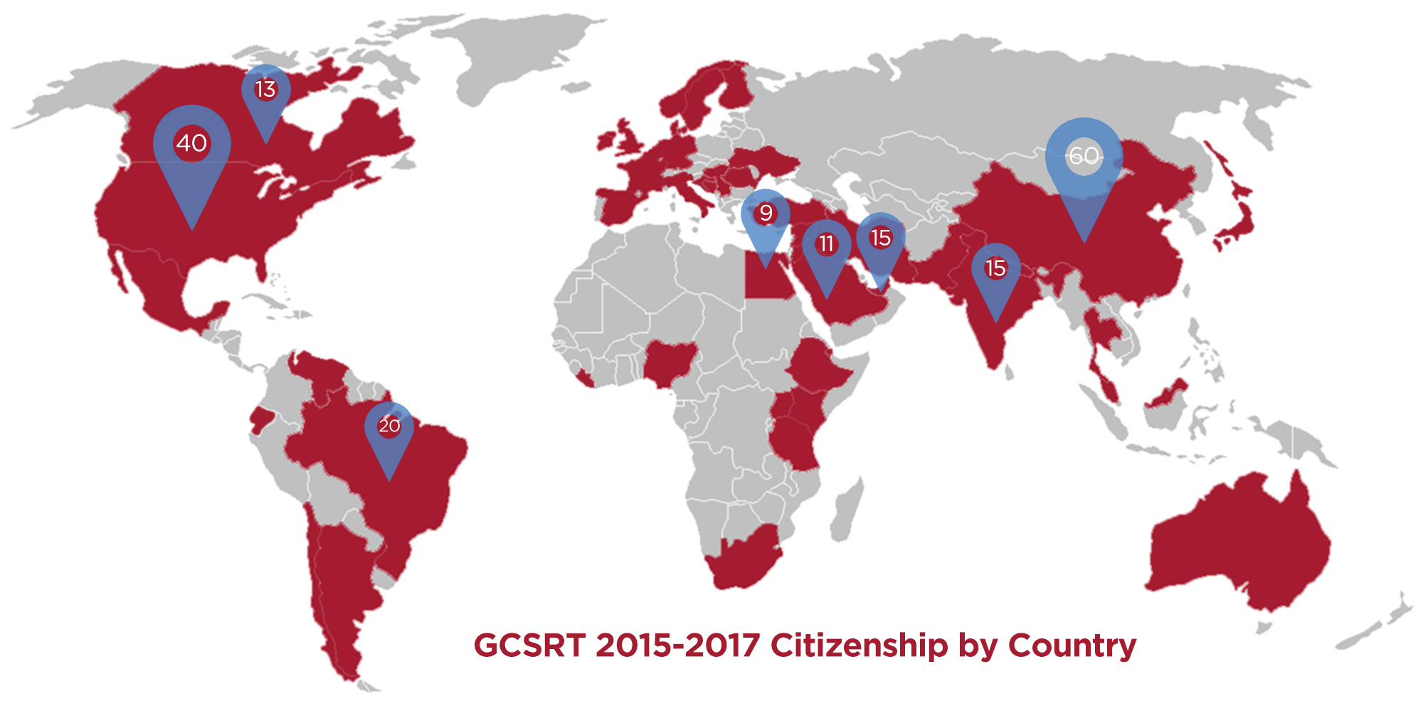 GCSRT Students by Home Country