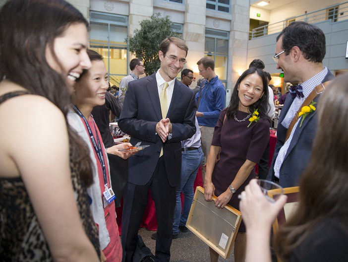 2016 Teaching Award recipients Dr. Jennifer Huang and Dr. Arash Mostaghimi enjoy the ceremony reception in the TMEC Atrium with students and colleagues. Photo by Rose Lincoln