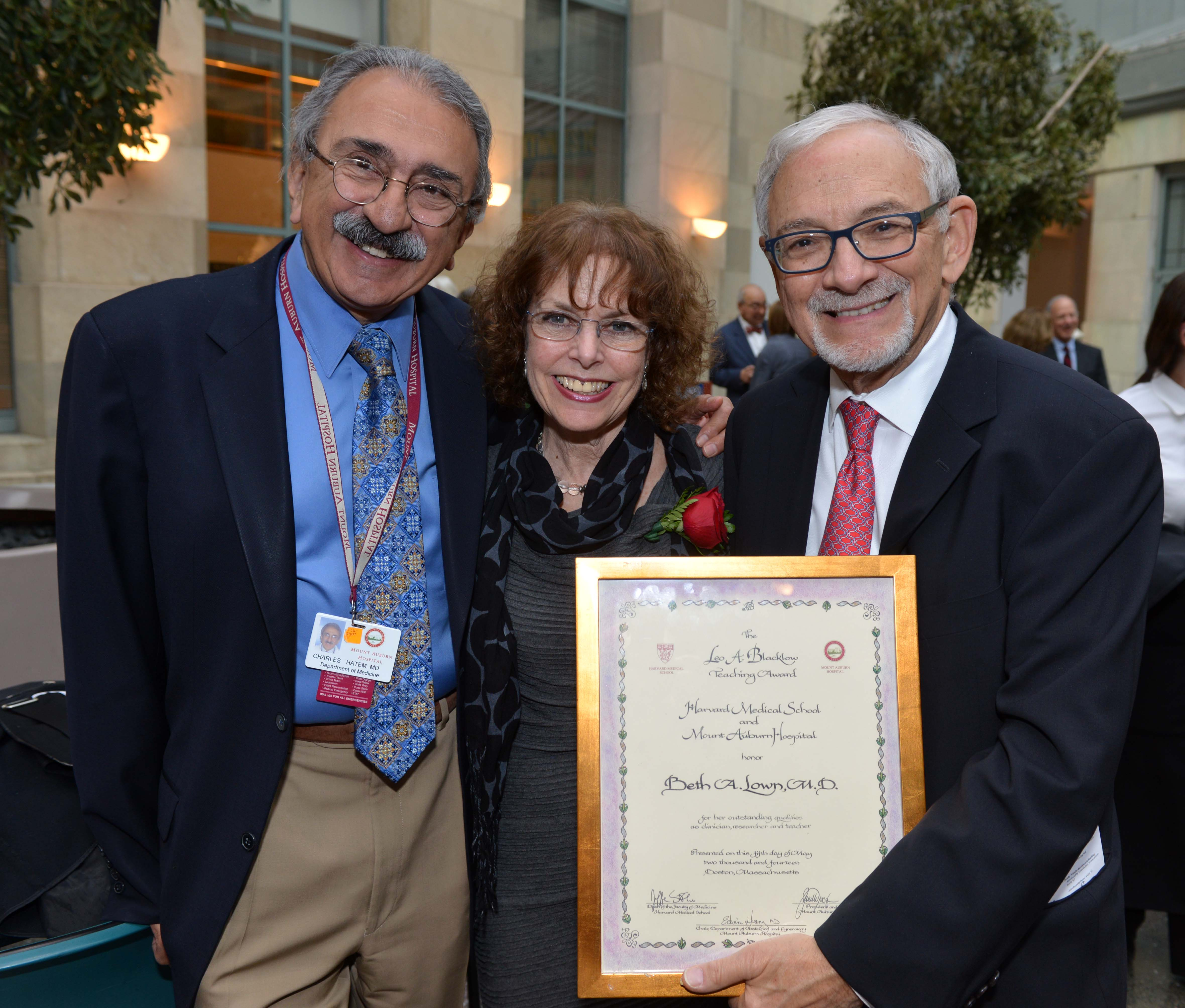 Mount Auburn colleagues Charles Hatem, Beth Lown, and Steve Zinner (left to right).