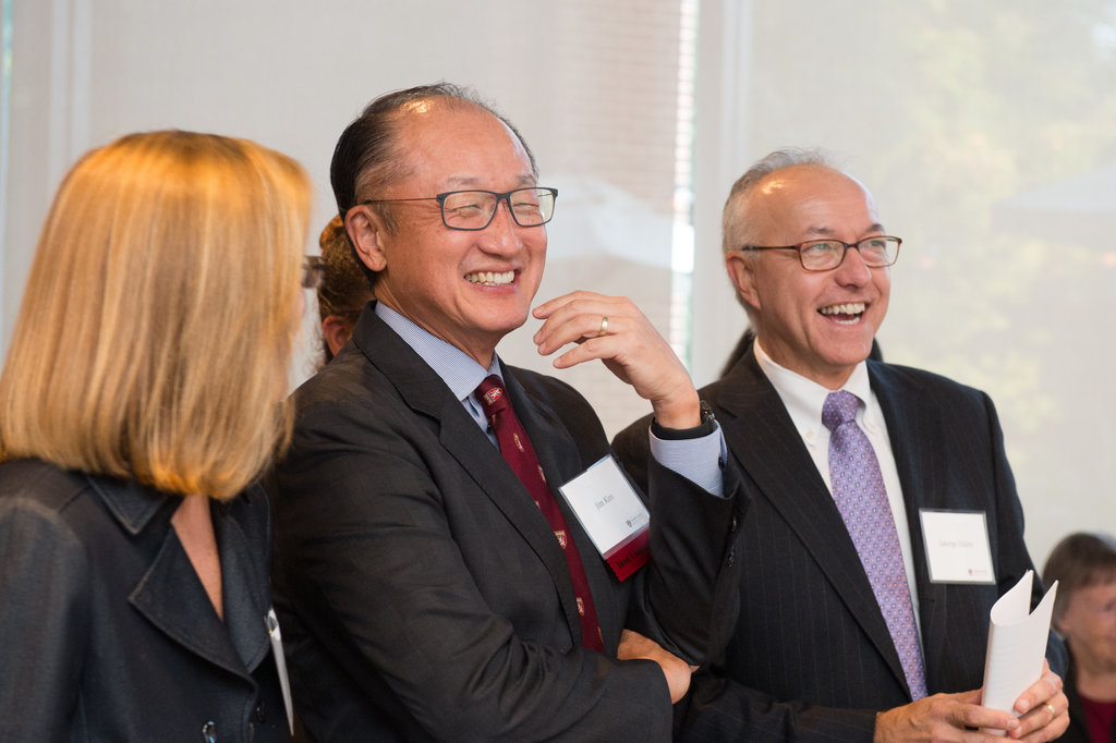 HMS Dean George Q. Daley and friend and classmate Jim Yong Kim, president of the World Bank Group. Image: Abby Jiu Photography