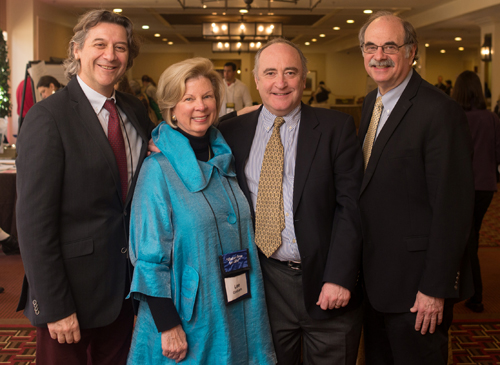 Lee Graham (second from left), Executive Director of the New England Celiac Organization, featured at inaugural symposium with founders of the Celiac Research Program at HMS: Alessio Fasano, MD; Ciarán Kelly, MD; and Alan Leichtner, MD.