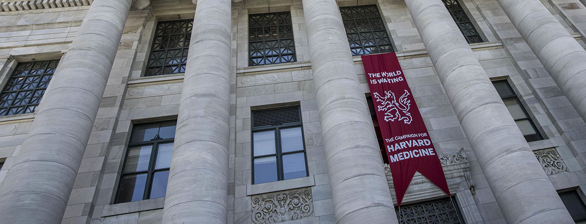"Banner that says ""The World Is Waiting: The Campaign for Harvard Medicine"" hanging on Gordon Hall"