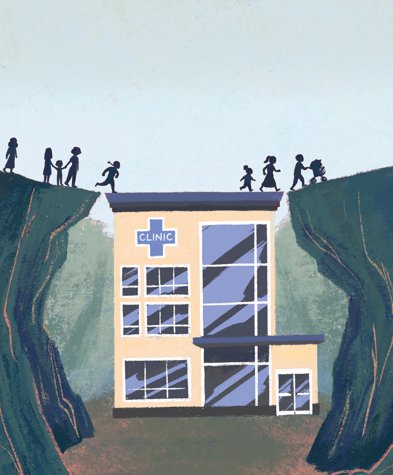 illustration of a community clinic providing a bridge for people