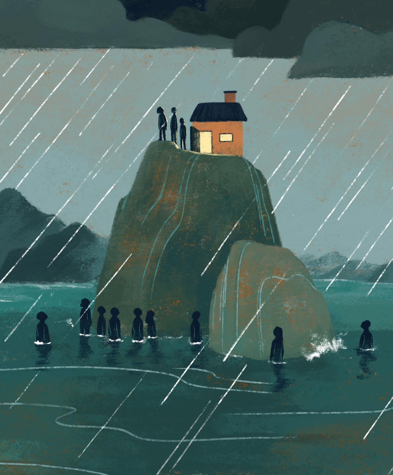 Illustration with dark clouds and rain, a very tall rock juts out of the water, on its top satnd a few people and a small building with an open door while at the base of the rock stand many people, waist deep in water