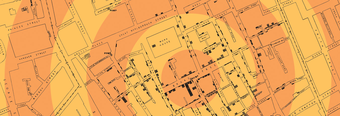 John Snow's 1854 map depicting cholera cases in London that year.