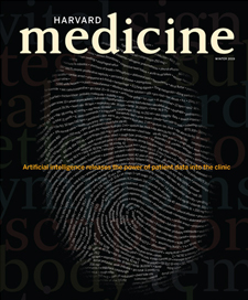 cover to the Winter 2019 issue, a fingerprint with patient info