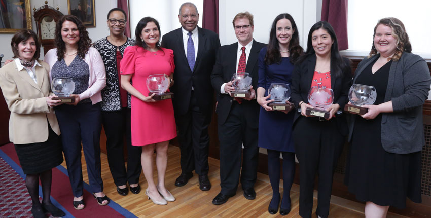 Recipients of the 2019 Diversity Awards with Joan Reede and Otis Brawley