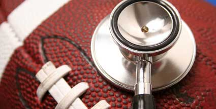 Football with stethoscope