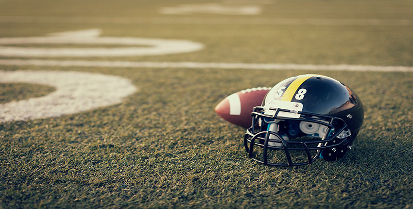 football field, helmet, ball