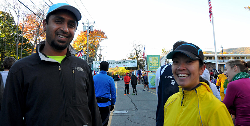 Photo of Mangalath and Cheung at Desert Island Marathon
