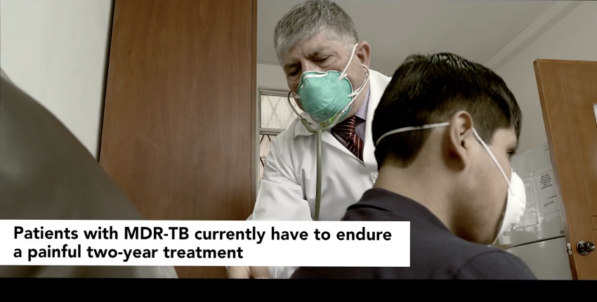 A physician examines a TB patient.