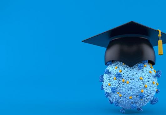 Illustration of a coronavirus with a mortarboard on top of it