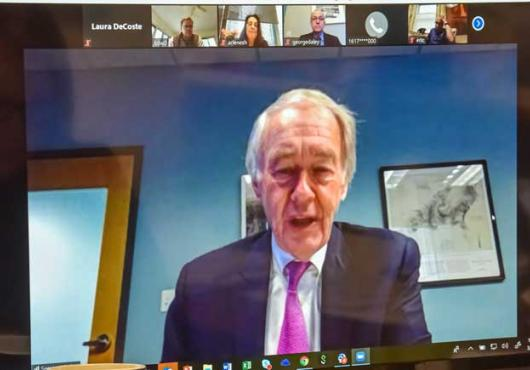 Sen. Edward Markey on teleconference monitor