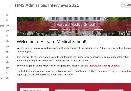 Screen shot of HMS admissions website