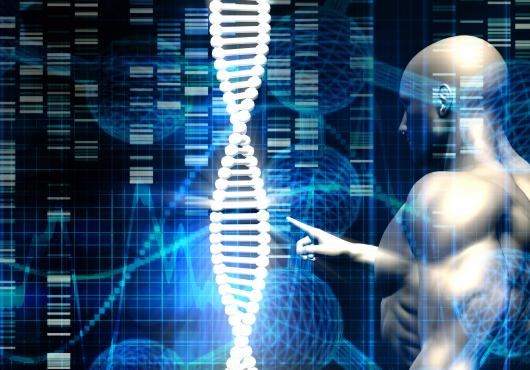 Illustration of robot-like figure touching a DNA strand