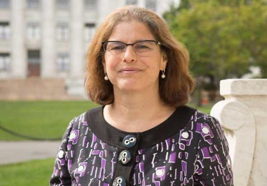 New dean for Graduate Education Rosalind Segal outside on the HMS Quad