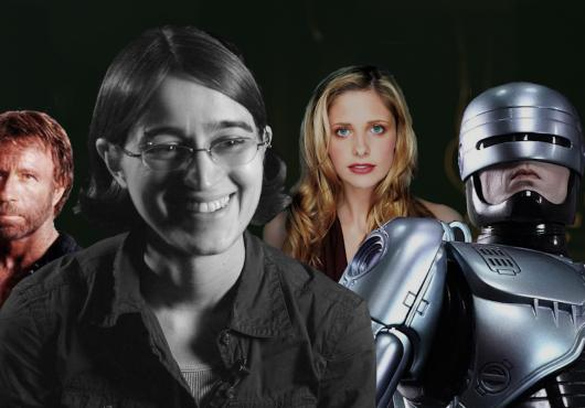 Images of Chuck Norris, the Buffybot and Robocop alongside researcher Lizz Thrall