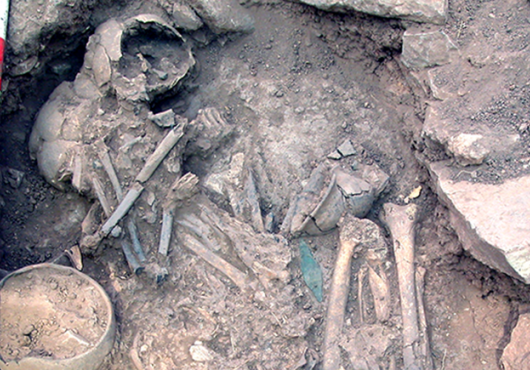 Two skeletons in an exhumed gravesite, with scale bars