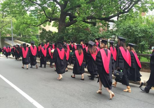 HMS med student grads walking in procession, from behind