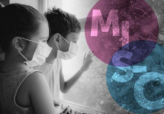 Black and white image of two children in surgical masks. To the side, pink and blue circles intersect with watermarked letters MIS-C