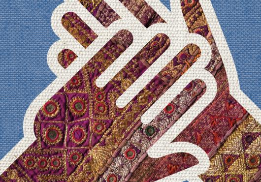illustration of crossed hands with a textured knitted-looking surface