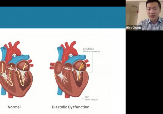 screen grab of Chang on video screen and slide with digital illustrations of a heart