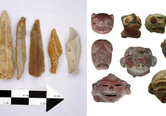 Side by side photographs show a line of stone arrowheads with a scale bar at bottom and a collection of ceramic figures in the shape of animal heads