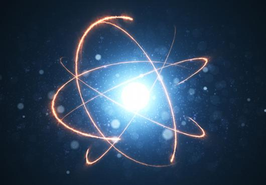 illustration of an atom with electrons orbiting it