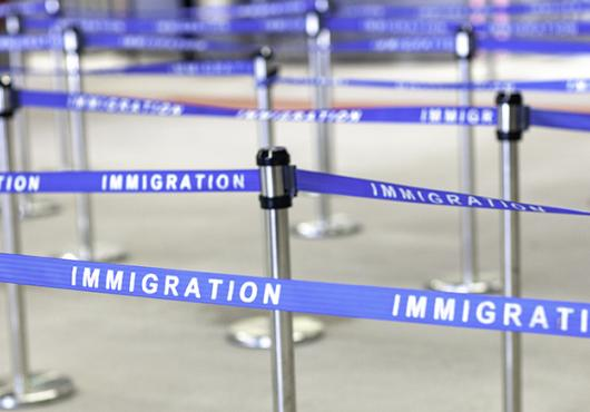 stanchions for immigration line