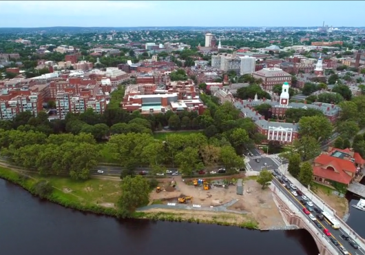 aerial view of Harvard University campus