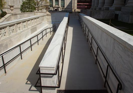 new access ramp in front of Gordon Hall