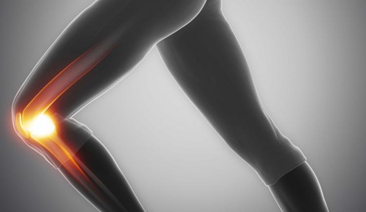 Image of a leg with the knee illuminated