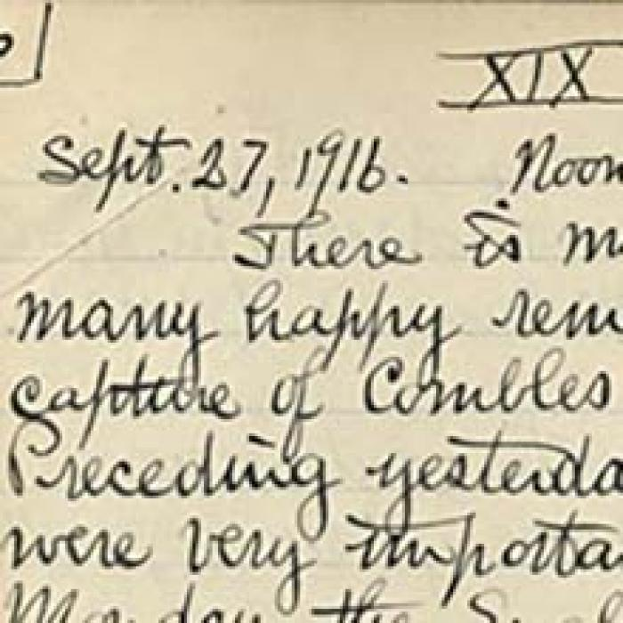 partial view of a page from Paul Dudley Whites's WWI journal