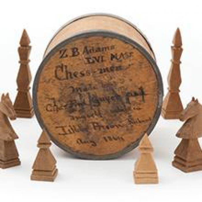 handcarved chess set, circa 1850s