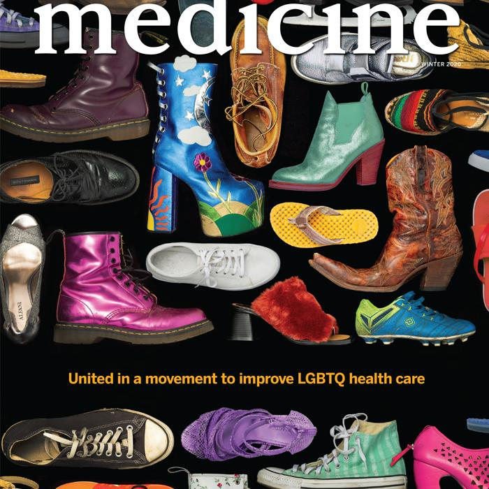 Winter 2020 cover showing an array of shoes of varying colors and styles