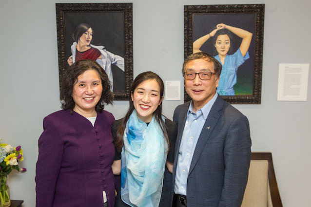 From left, Chen's mother Luying Pan, Chen, and Chen's father, Hudong Chen