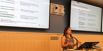 Rocio Nunez Pepen delivers her final presentation as a Project Success intern.