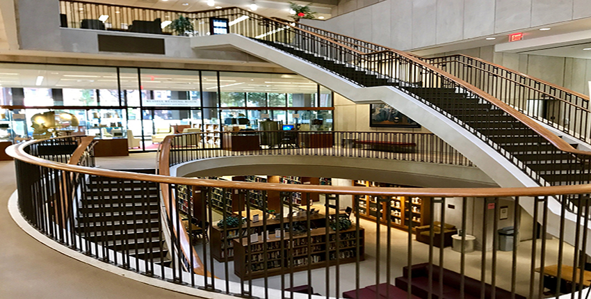 Central interior stairs of current Countway Library
