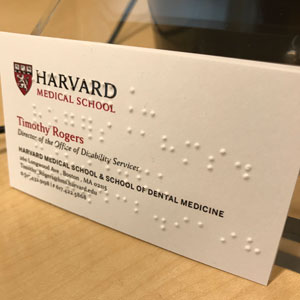 Rogers' business card in braille